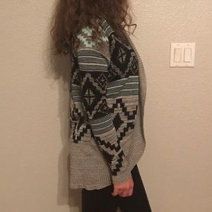 Aztec Mint Printed Cardigan
